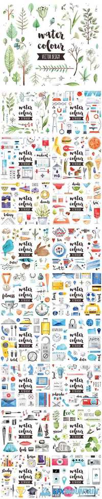 Watercolor icons and design elements