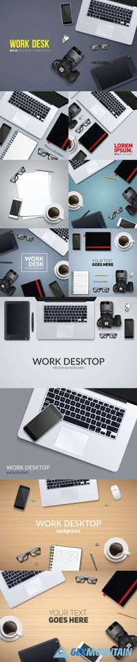Office desk table with photo camera and laptop top view
