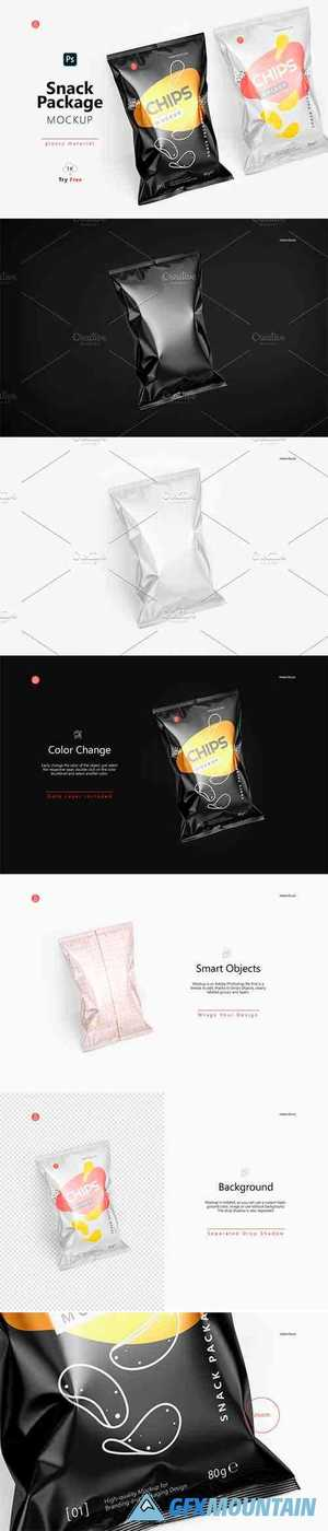 Tilted Glossy Snack Package Mockup 4941885