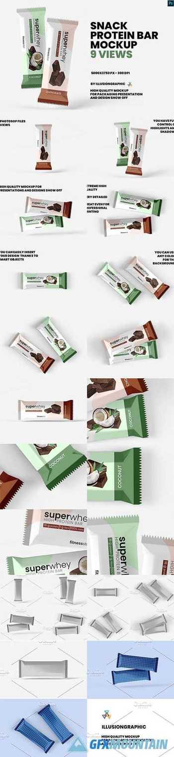 Snack - Protein Bar Mockup - 9 Views 5495104