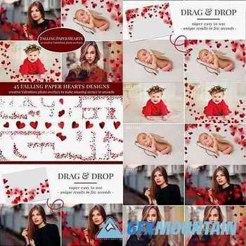 Falling Paper Hearts photo overlays 5791182