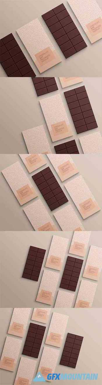 Chocolate bar wrapping paper packaging mockup