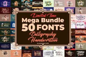 Calligraphy & Handwritten Font Bundle - 50 Premium Fonts