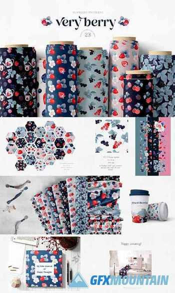 Berry Fruit Seamless Pattern Big Collection Repeats JPEG PNG - 1361701