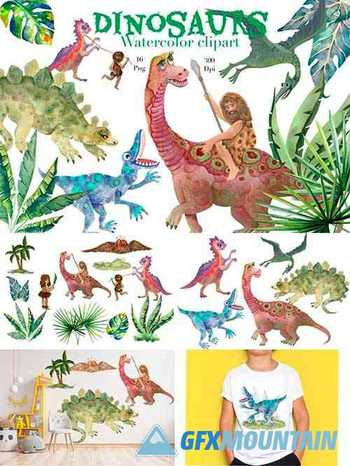 Dinosaurs watercolor clipart,png,Children's room decor - 1286223