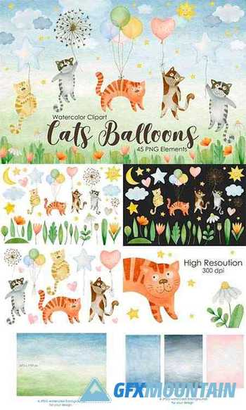 Watercolor Cats Balloons Clipart - 1362551