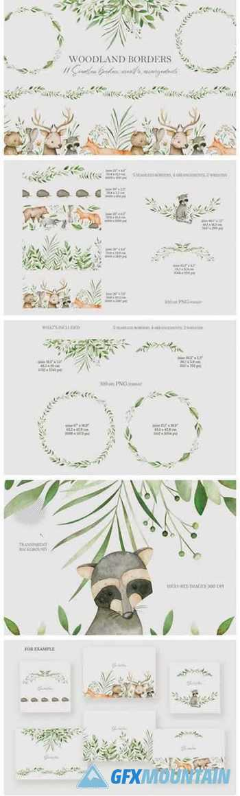 Watercolor Woodland Borders Clipart 11767174
