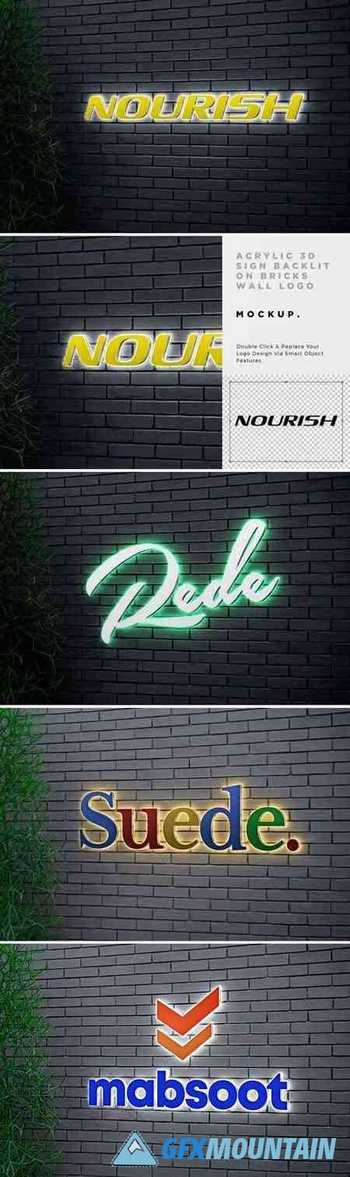 Acrylic 3D Sign Backlit Logo Mockup