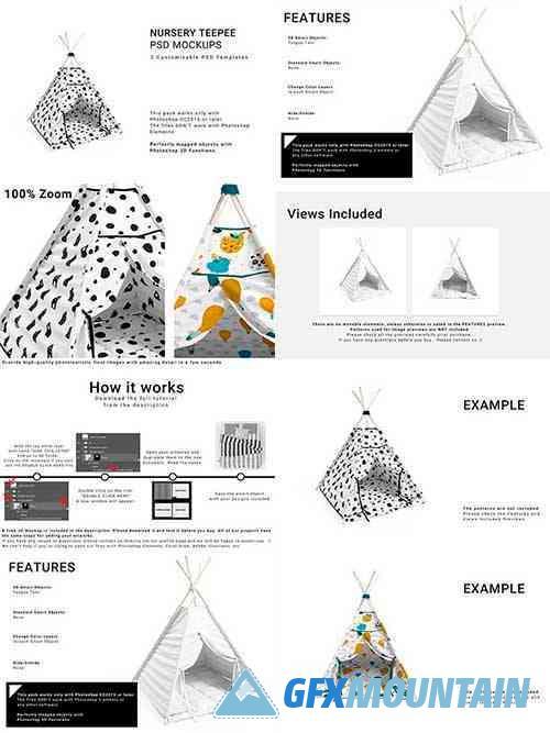 Nursery Teepee Tent 3D Mockups 5895666
