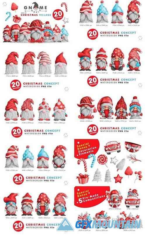 Gnome Christmas PNG Clipart Bundle 15881328