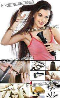 Stock Photos - Hairdresser People with a Hairdryer
