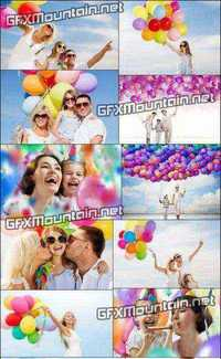 Stock Photos - Happy People with Colorful Balloons