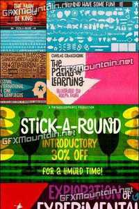 Stick A Round Font Family - 2 Font $25