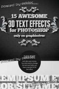 Graphicriver -  15 Various 3D Text Effects - Pack
