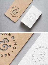PSD Mock-Up - Cutout Wood & Embossed B-Card