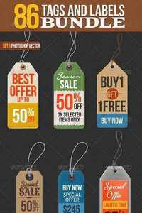 GraphicRiver - 86 Tags and Labels Bundle 6644063