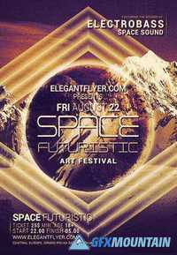 Space Futuristic Party Flyer PSD Template + Facebook Cover