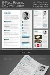 GraphicRiver - 3-Piece Resume CV Cover Letter