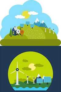 Flat Design Ecology Environment and Green Energy Concepts