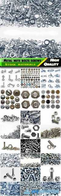 Chrome metal nuts bolts screws, hardware, washers Stock images