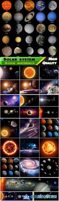 Solar system and the Milky Way - sun, mercury, venus, earth, moon, mars, jupiter, saturn, uranus, neptune, pluto, vesta, tethys, callisto, europa, io, titan, mimas, ganymede, triton, phobos, deimos, dione, rhea, iapetus Stock images