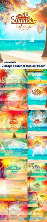 Vintage poster of tropical beach - 15 EPS