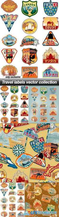 Travel labels vector collection - 5 EPS