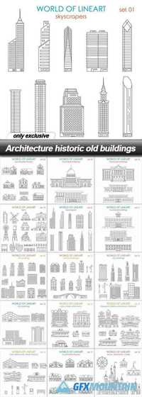 Architecture historic old buildings - 15 EPS