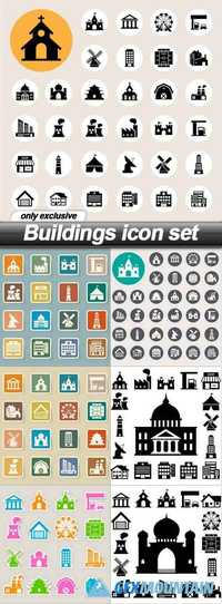 Buildings icon set - 7 EPS