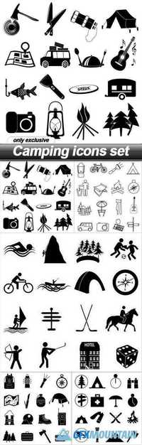Camping icons set - 5 EPS