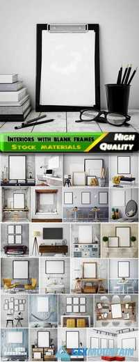 3D mock up interiors with blank frames for adverising 2 - 25 HQ Jpg