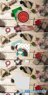 Xmas-Holiday invitation PSD mockup 423647