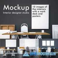 Mockup studio interior with posters 422233