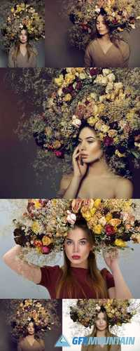 Beauty Fashion Female Portrait with Large Garland Dried Flowers