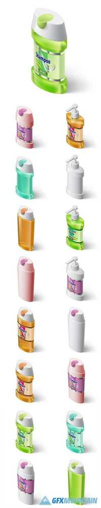 Packing Liquid Soap Dispenser and Shampoo Isometric Style