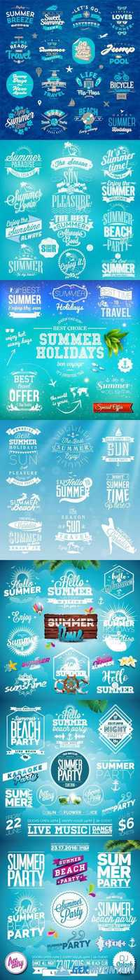 Summer Typography Illustration set with signs and symbols