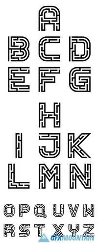 Vector Real Maze Alphabet Font Letters