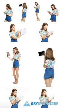 Funny Young Girl with a Tablet Isolated