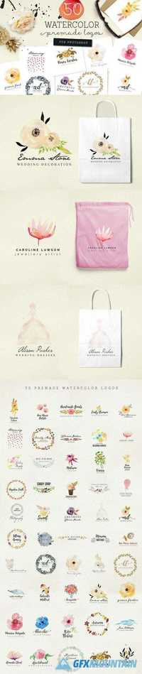 50 Premade Watercolor Logos -925773
