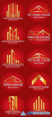 Real Estate, Building and Construction Logo Vector Design