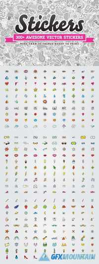 Awesome 300 Vector Stickers Set 967023