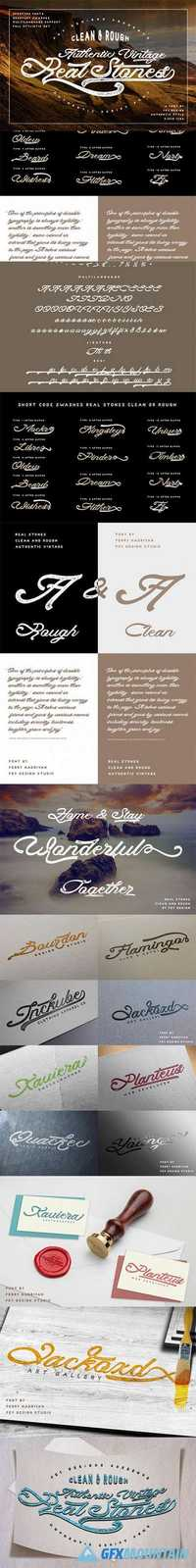 Real Stones - Clean And Rough + Extras Font Family