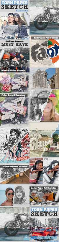 GraphicRiver - Sketch and Torn Paper Photo Effect Photoshop Action - 18029777