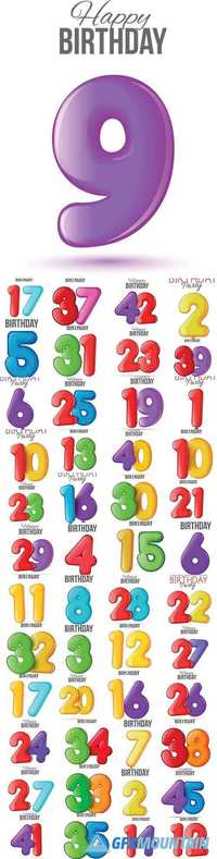 Birthday greeting card with numbers balloon
