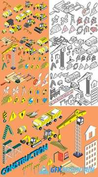 Construction Icons Set Concept in Isometric 3D Graphic