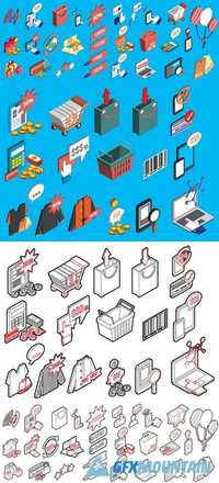 Sale Icons Set Concept in Isometric 3d Graphic