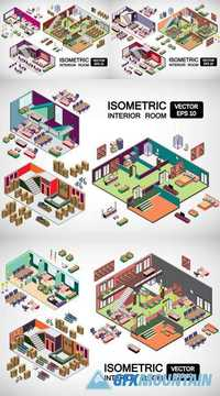 Interior Room Concept in 3d Isometric Graphic