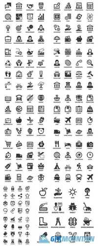 Flat Black Icons and Symbols