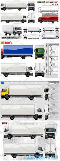 Delivery/cargo truck mockup pack 1084889