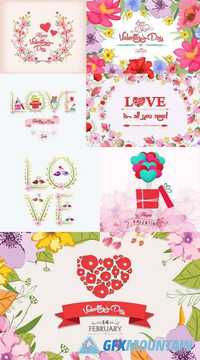 Valentines Day Romantic Card with Flower Background